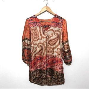 Zara silk paisley tunic top with pockets, small